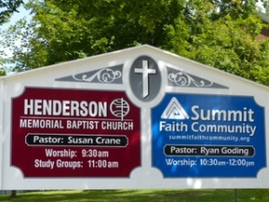 Henderson Memorial Baptist Church in Farmington Maine's sign
